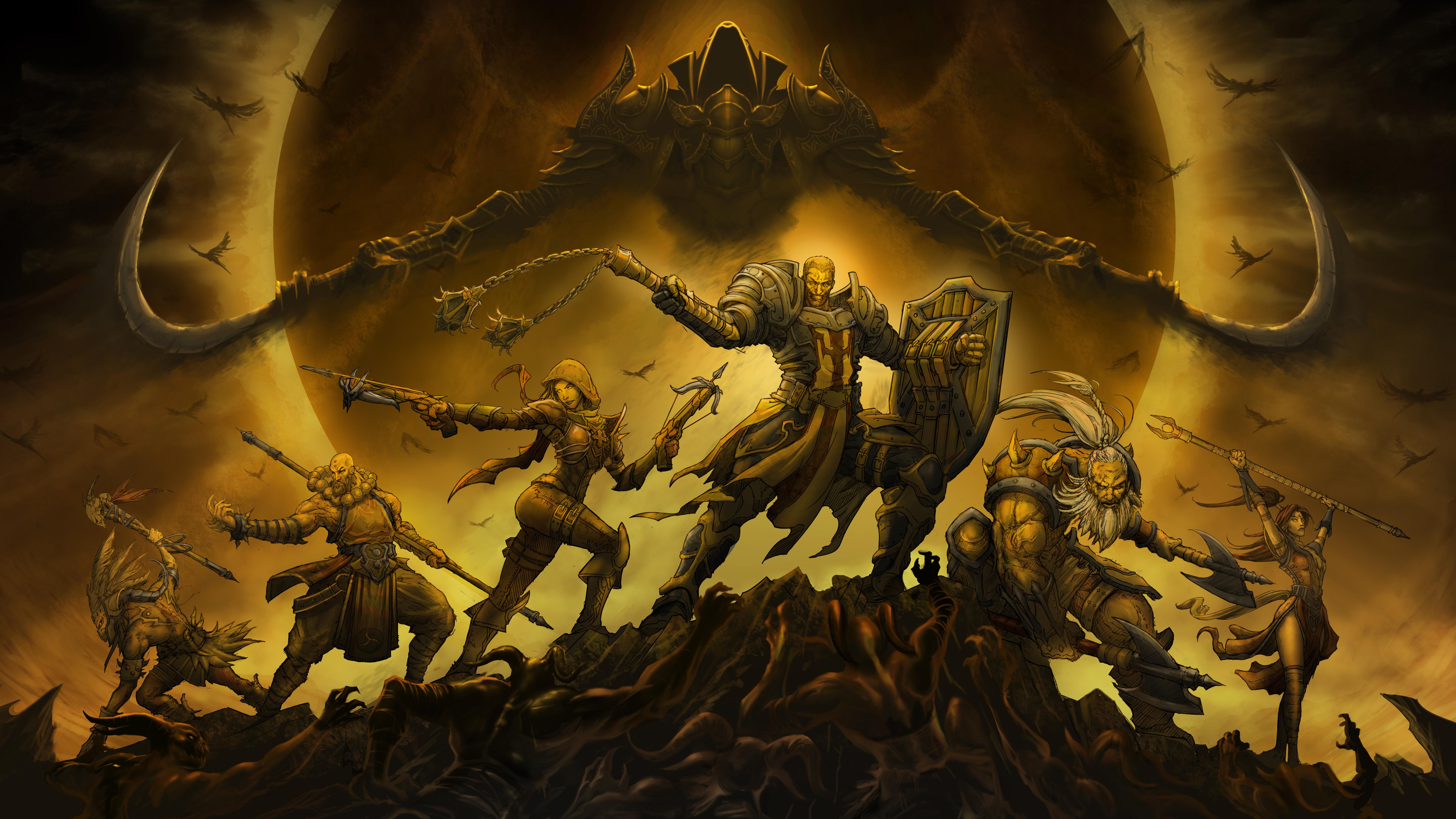 Diablo 3 barbarian witch doctor wizard monk demon hunter classes 1680x1050