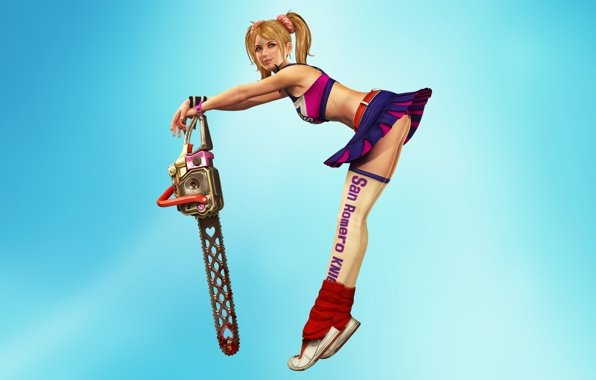 Lollipop chainsaw chainsaw juliet starling a girl wallpapers 596x380