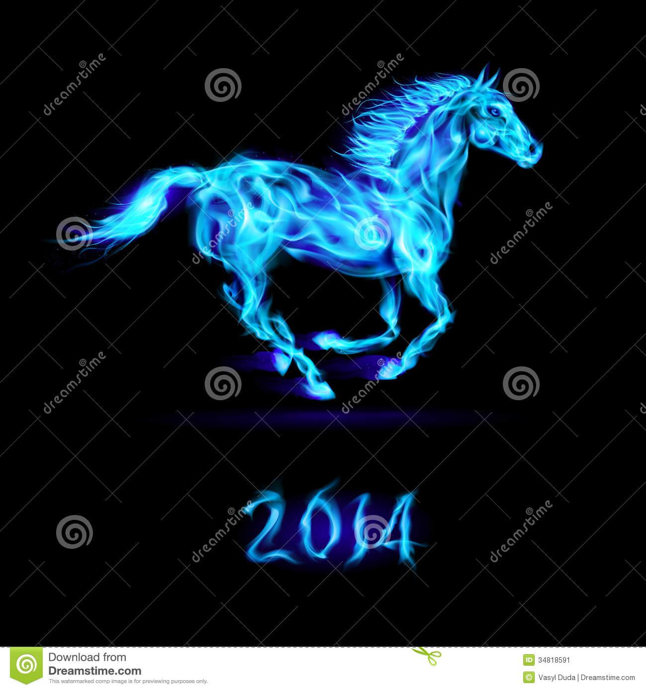 Blue Fire Horse Wallpaper New year 2014 fire horse 1300x1390