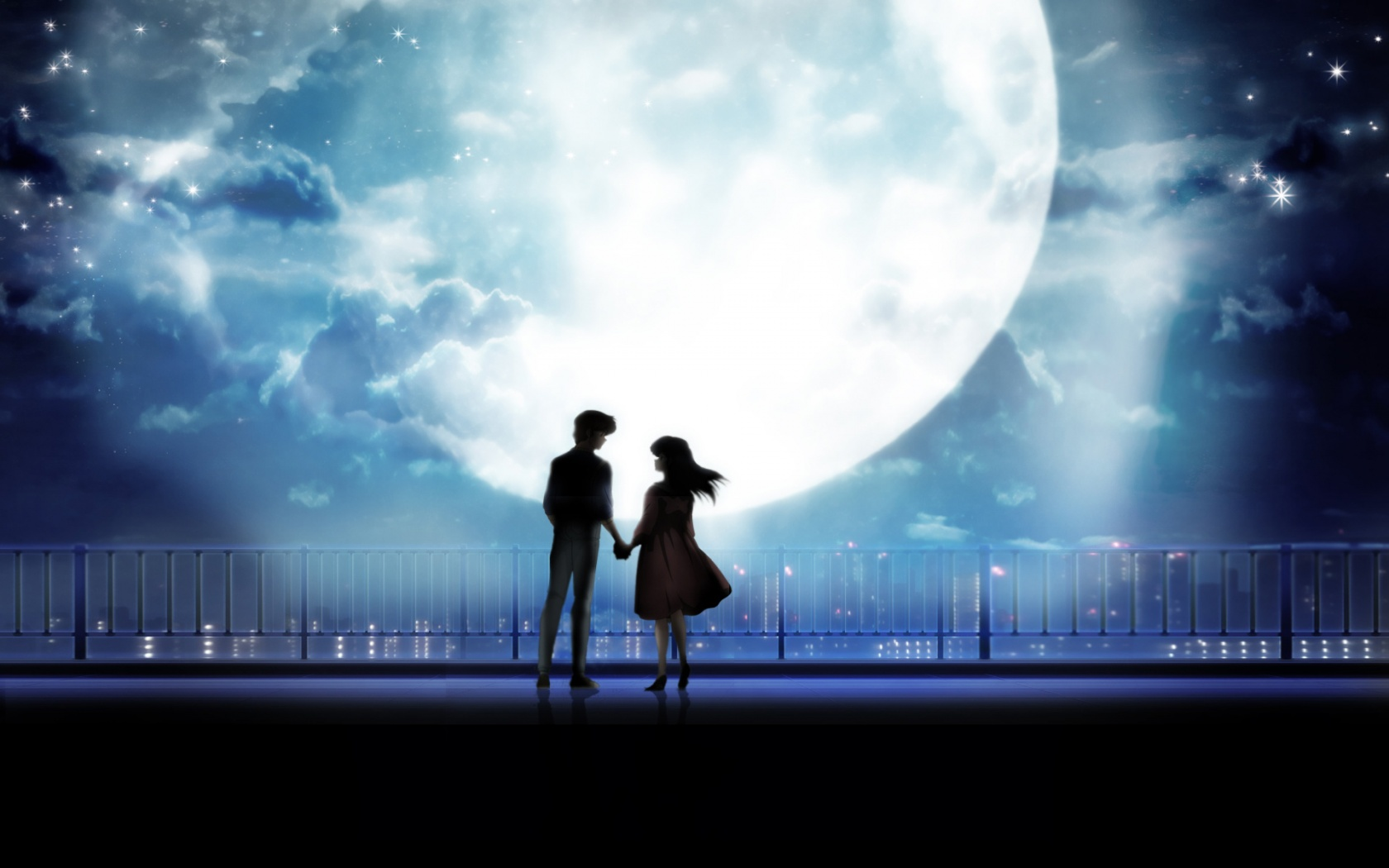 Anime art anime couple holding hands moonlight desktopjpg 1680x1050