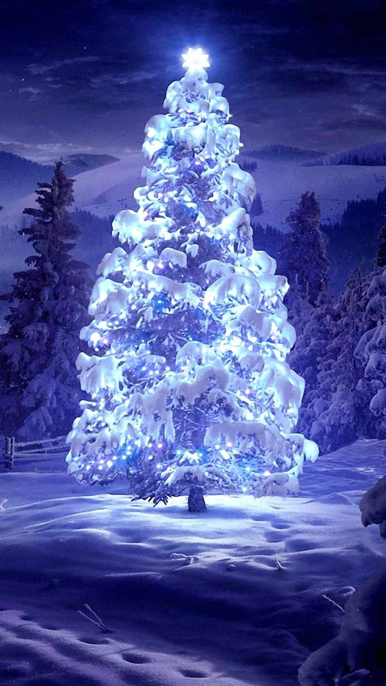 2014 lightened christmas tree iphone 6 wallpaper snow f39901 750x1334