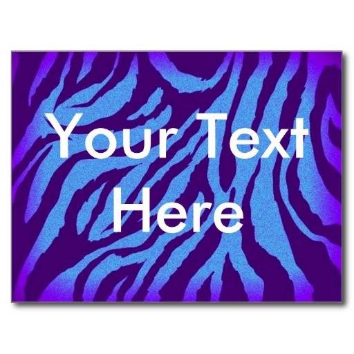 Scene Style Postcard   BlueIndigo Zebra Print Zazzle 512x512