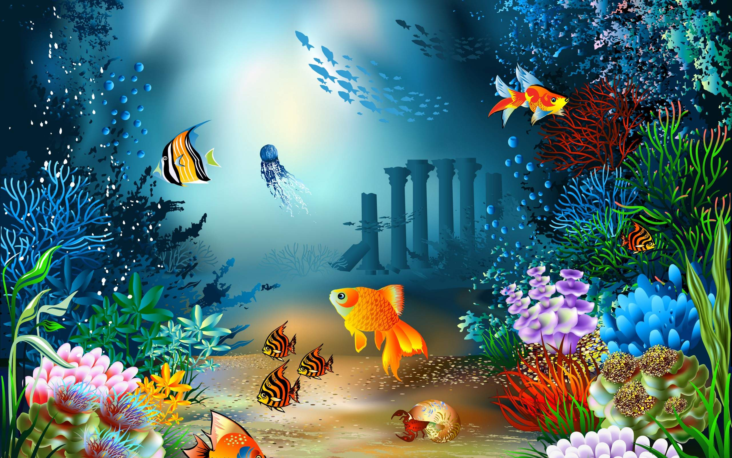 78 sea life wallpaper on wallpapersafari - Underwater desktop background ...