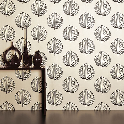 Modern wallpaper Graphic black white leaf print by Romo   a photo 500x500