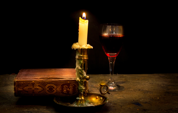 Wallpaper still life candle wax wine book wallpapers style 596x380