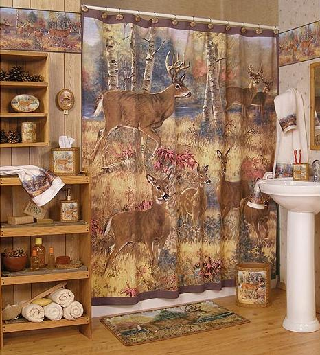 Wallpaper deer and cabin wallpapersafari for Hunting bathroom accessories