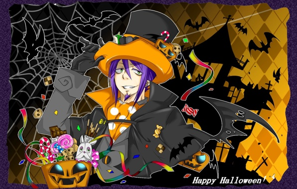Wallpaper Anime Blue Exorcist Mephisto Halloween Spider Webs 596x380