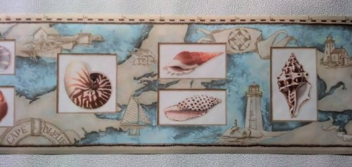 Rolling Borders Wallpaper Border Nautical Map Sea Shells Lighthouses 500x238