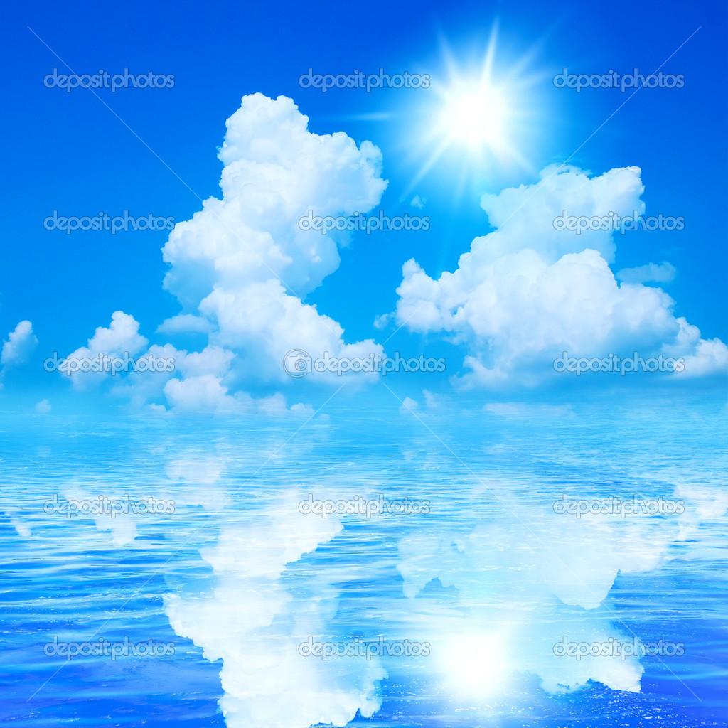 Sunny Sky Background Beautiful sea and sunny sky 1024x1024