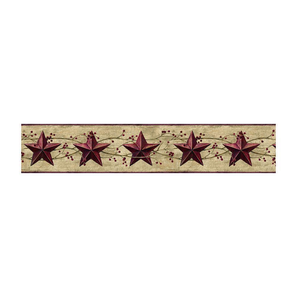 Berries Country Tin Dark Red Stars Wallpaper Border York eBay 1000x1000