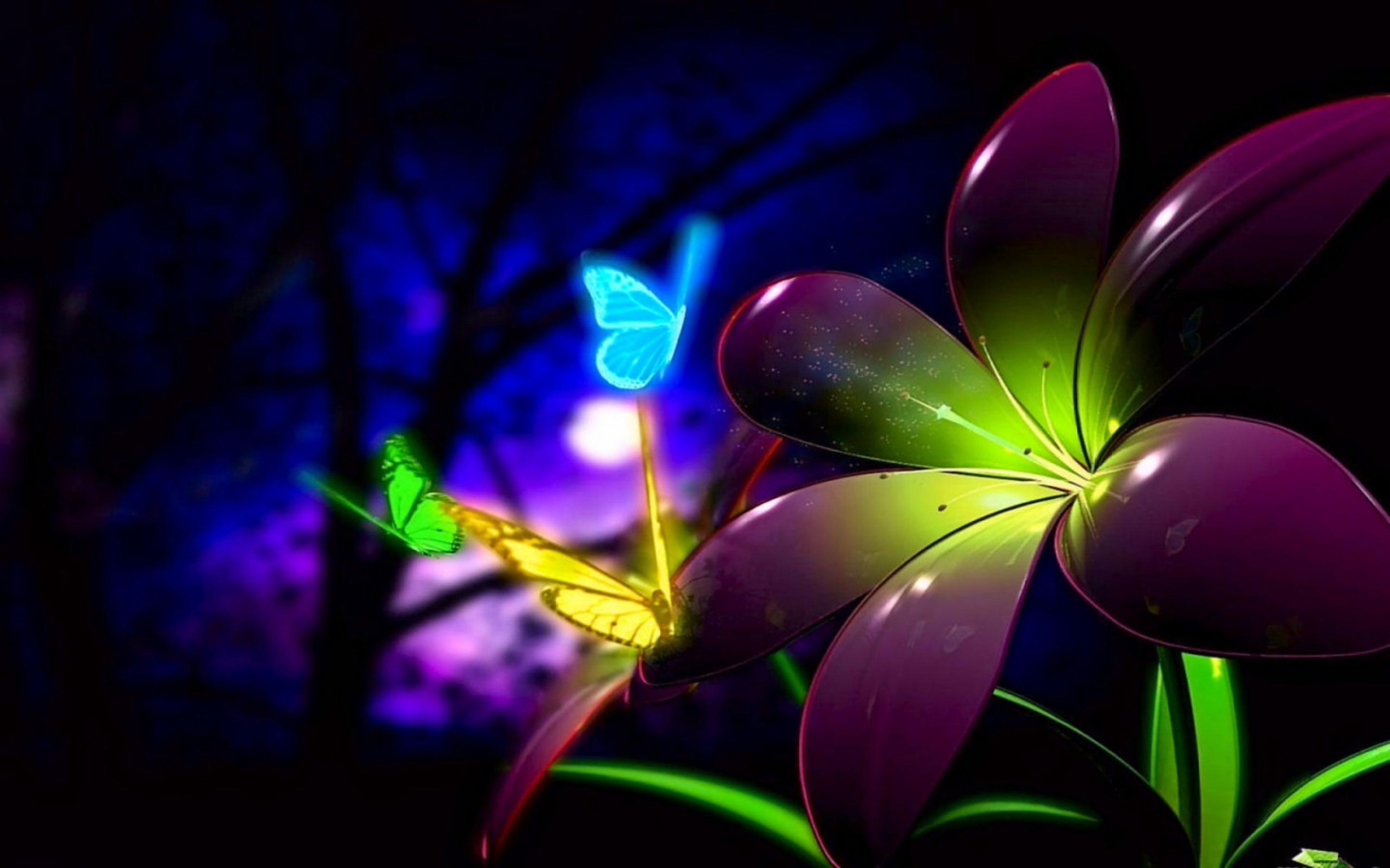 Nice Animated 3d Flower And Butterfly Wallpaper Desktop Desktop 2880x1800