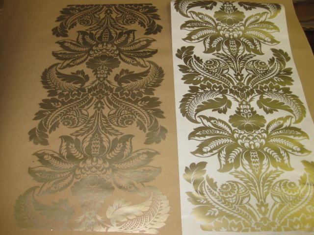 CHATSWORTH GOLD WALL FEATURE WALLPAPER 30cm wide DECO SELF ADHESIVE 640x480