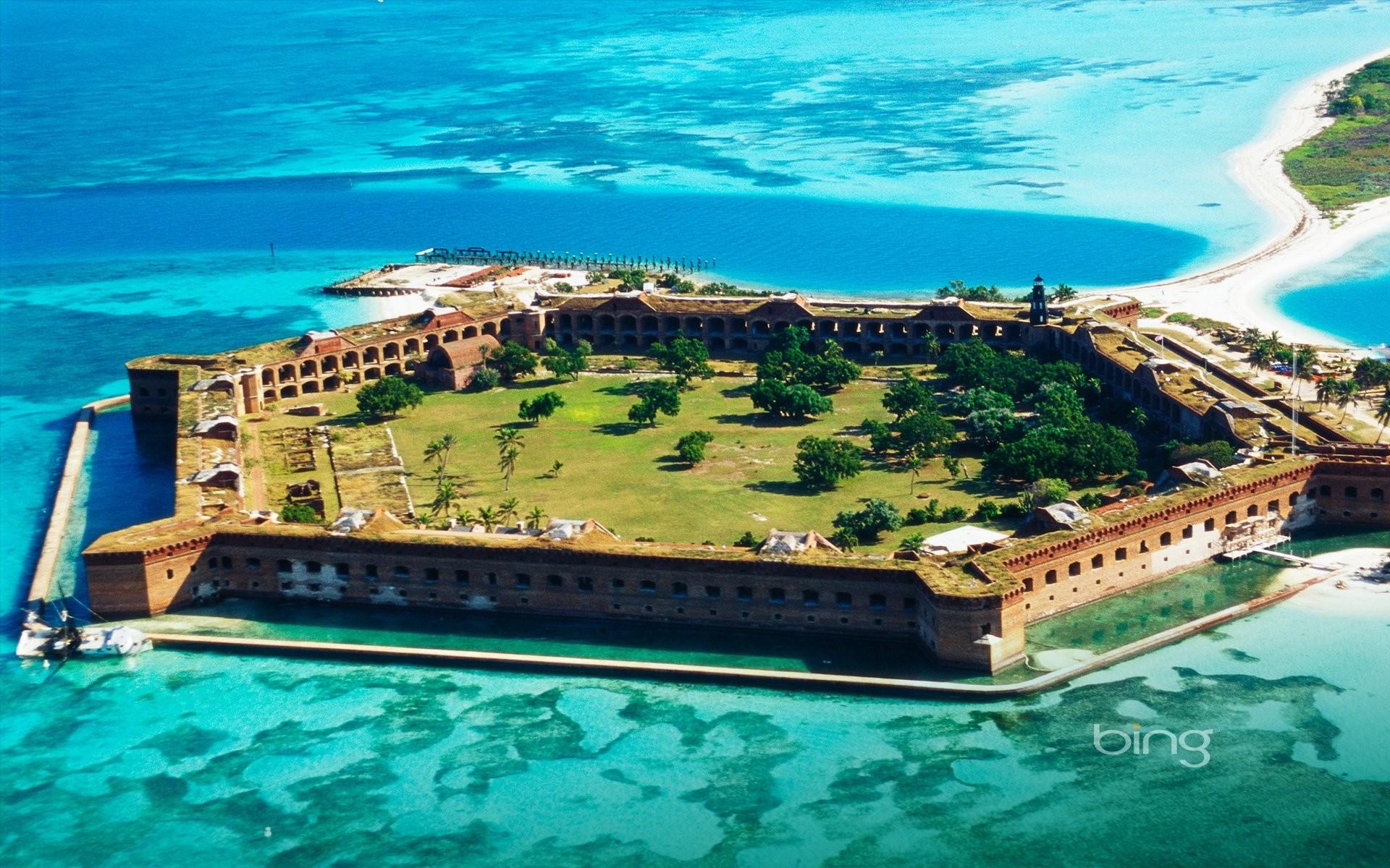 Sea fortress fort jefferson bing wallpaper background 1920x1200