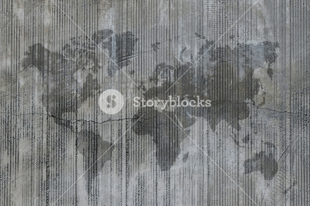 World map stain on cement concrete wall at construction site 1000x667