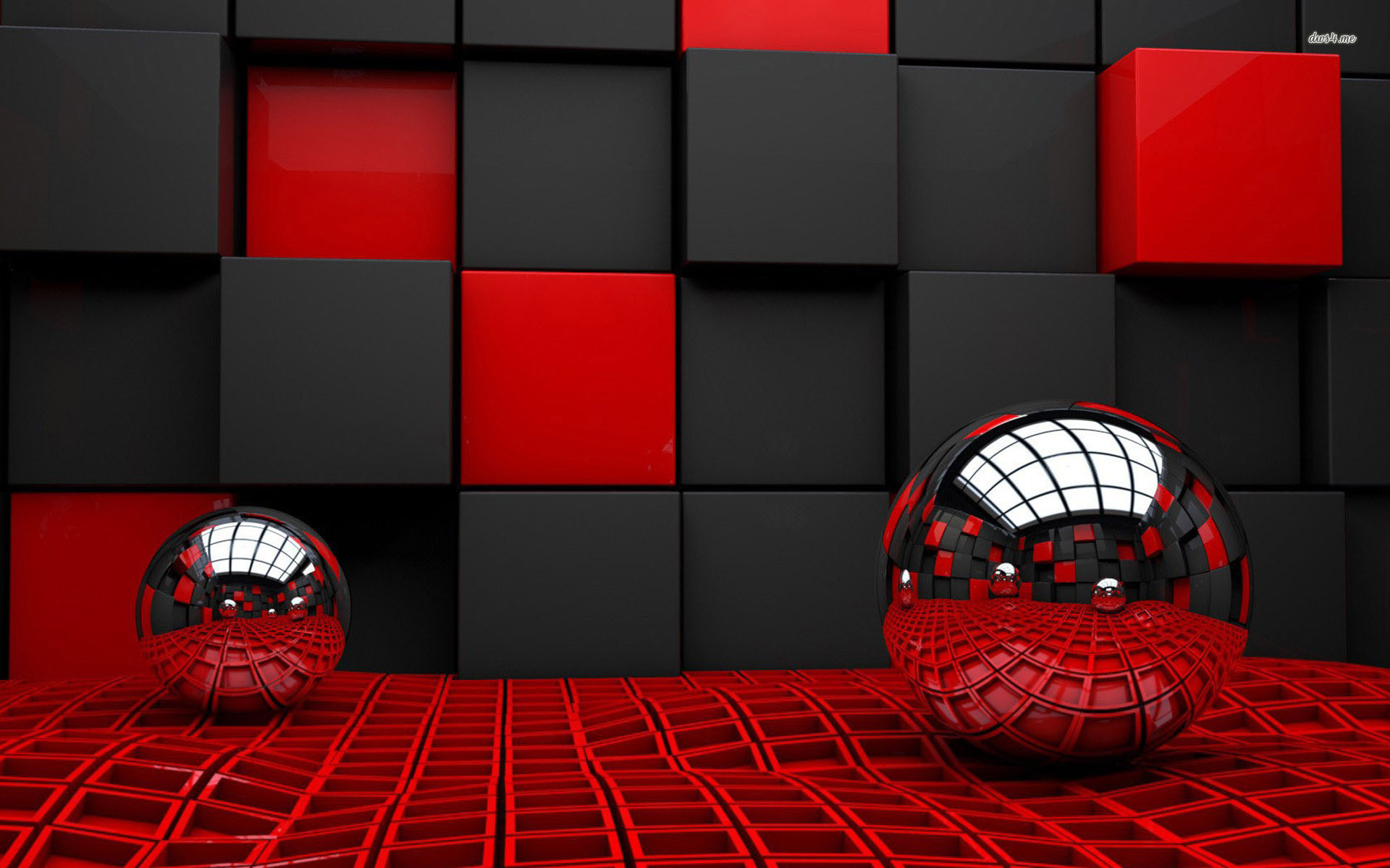 spheres reflecting the cube room wallpaper   3D wallpapers   12006 1920x1200