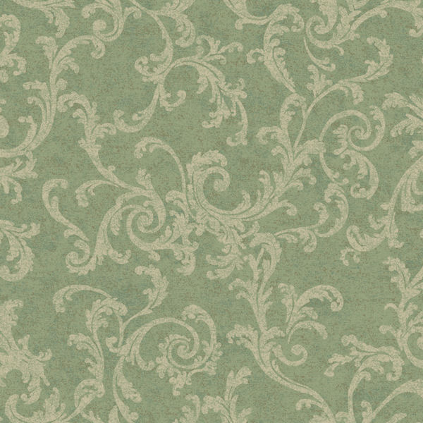 Green and Cream Textured Scroll Wallpaper   Wall Sticker Outlet 600x600