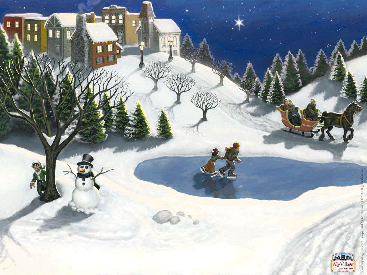Christmas Village Backgrounds 1280x960