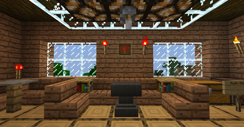 Minecraft Tree House   The Living Room wallpaper by Trancendency on 1024x536