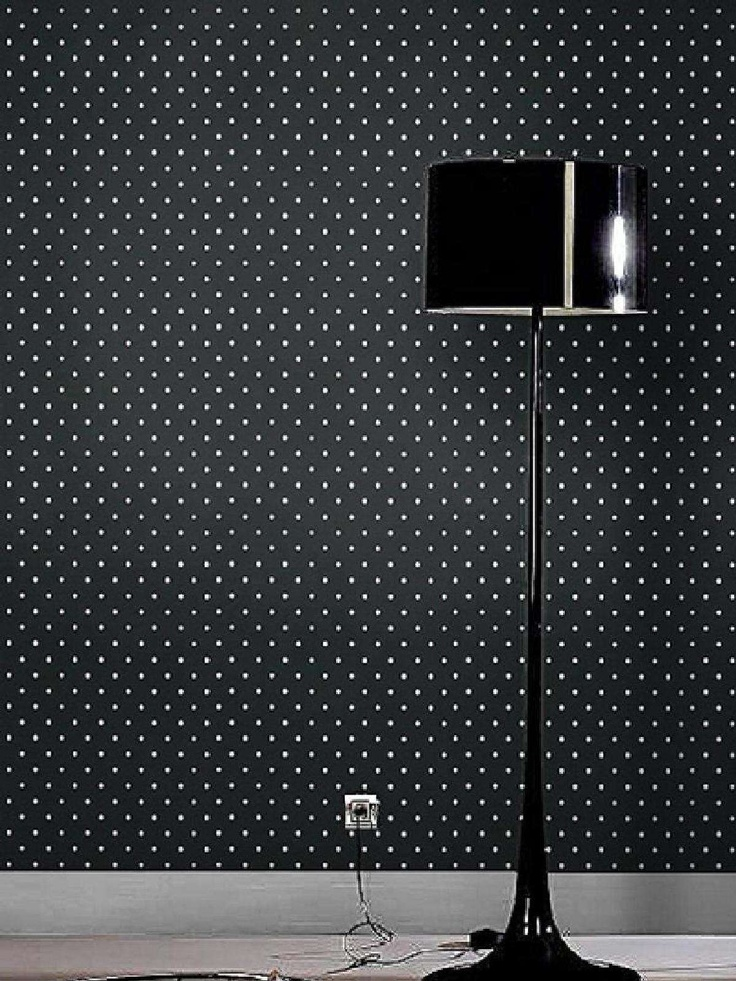 black and white polka dot wallpaper | Bedroom ideas | Pinterest