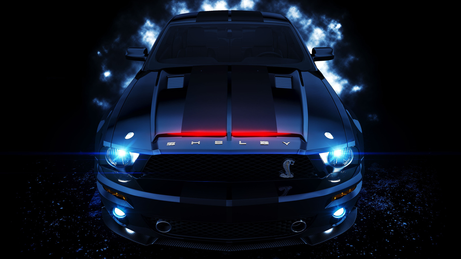 Mechanical Blue Ford Mustang Shelby GT500 Car Picture HD Wallpaper 1600x900