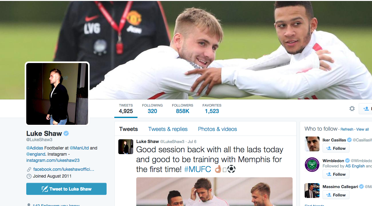 Man Uniteds new bromance Luke Shaw changes Twitter background to 1204x667