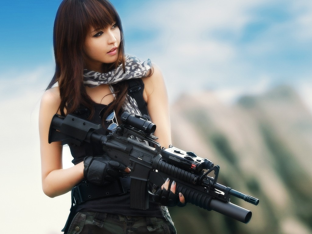 asians girls with guns m4a1 asian desktop 1024x768 hd wallpaper 839032 1024x768