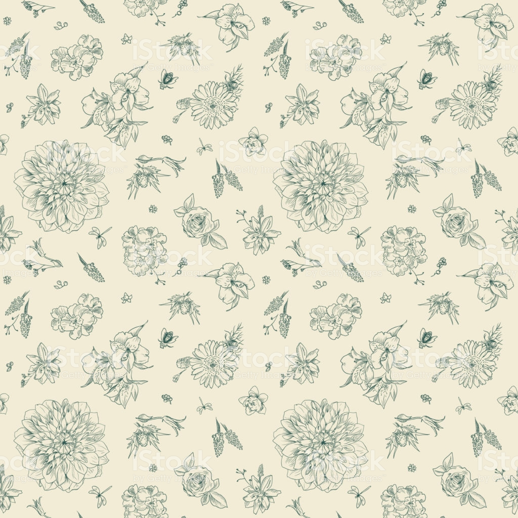 Pattern With Floral Ornament Toile De Jouy Garden Flowers Seamless 1024x1024