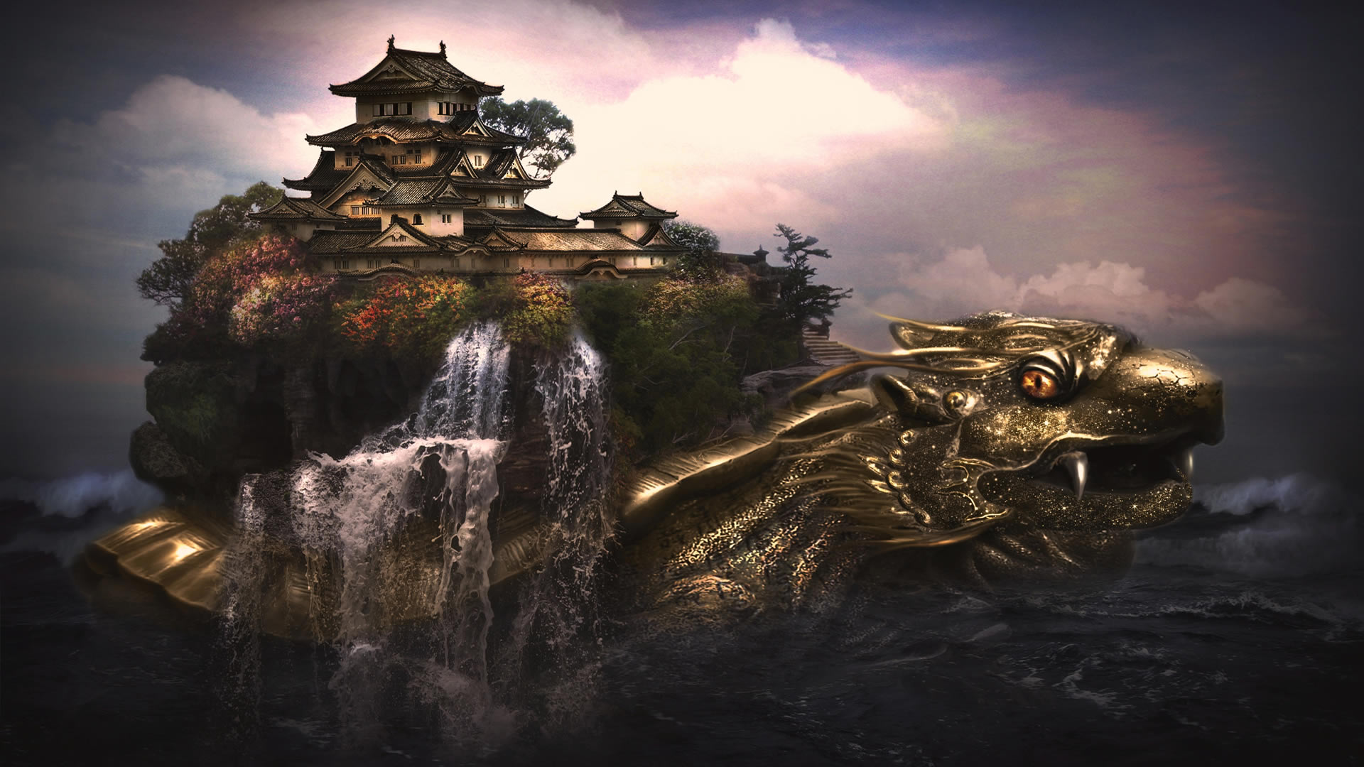 Castle And Golden Dragon Wallpaper 9797 Wallpaper Wallpaper hd 1920x1080