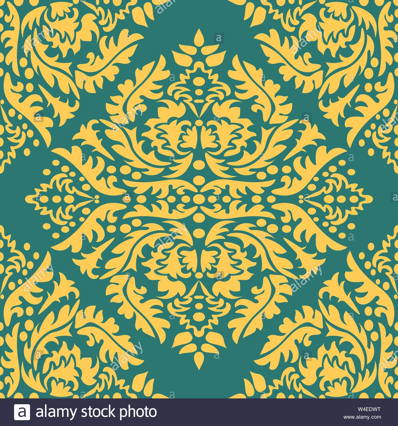 Classic seamless vector pattern Damask orient yellow ornament 1300x1390