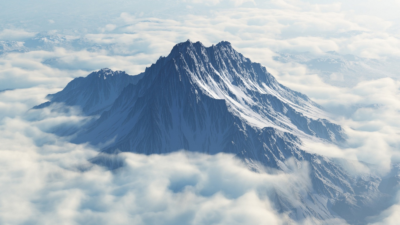 1366x768 Mount Olympus Aerial View desktop PC and Mac wallpaper 1366x768
