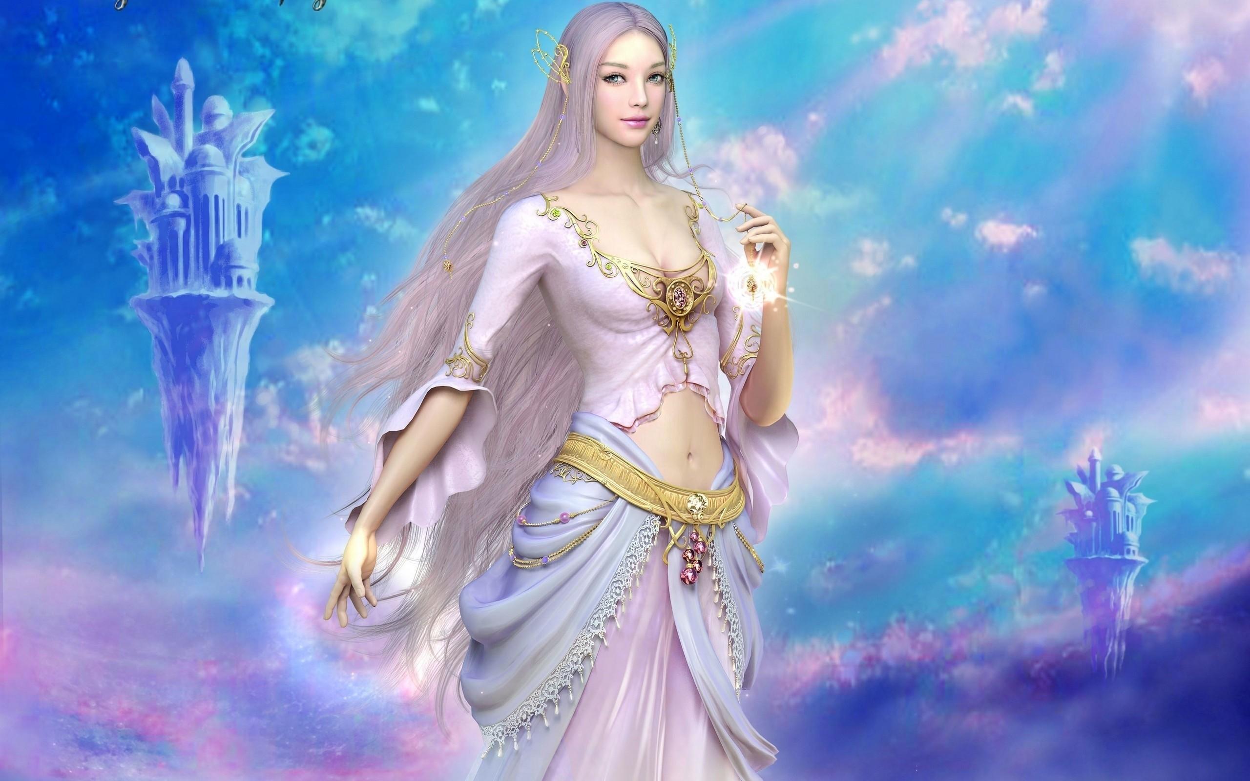 Goddess of Light 3d art blue fantasy goddess of light 2560x1600
