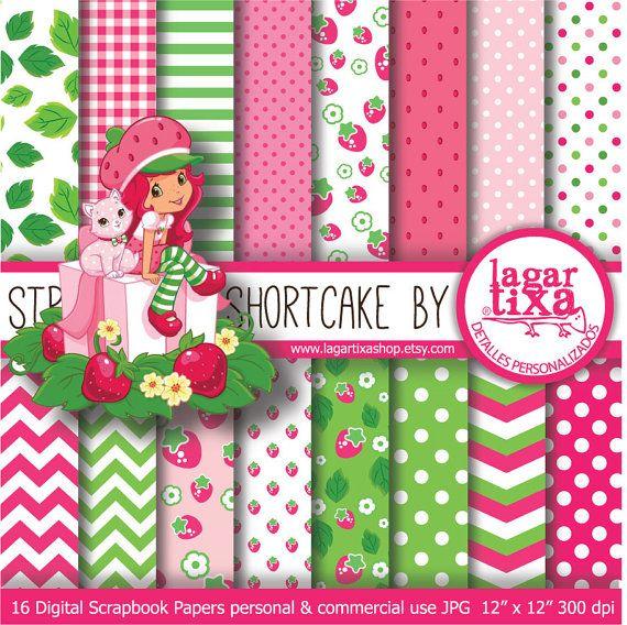 STRAWBERRY Shortcake Digital Paper Background por LagartixaShop 400 570x568