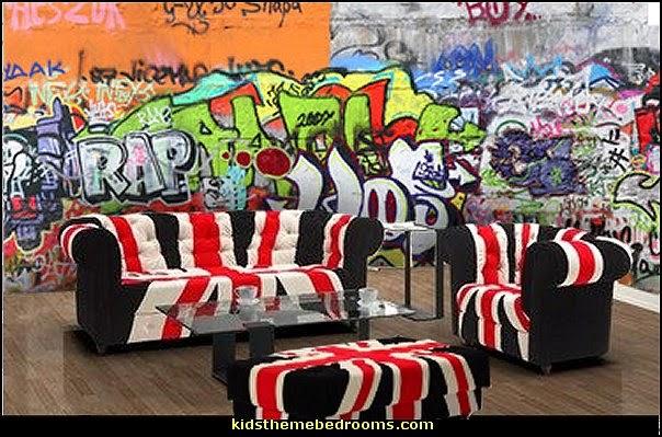 graffiti wall murals Union Jack Living Room decorating ideas 604x399