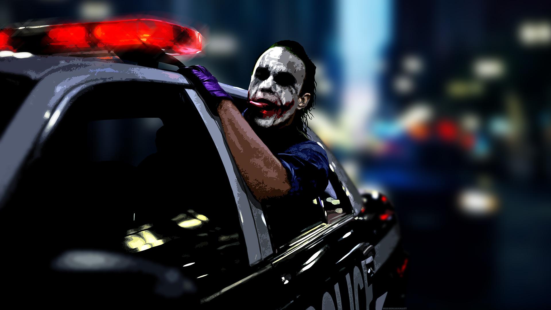 Wallpaper 1920x1080 The Joker Heath Ledger Police Cars Batman 1920x1080
