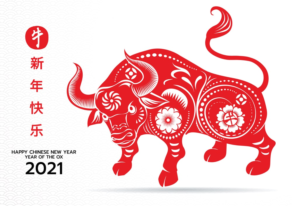 Chinese New Year 2021 Wallpaper Happy Year of Ox 2021 Cow Bull 1000x707