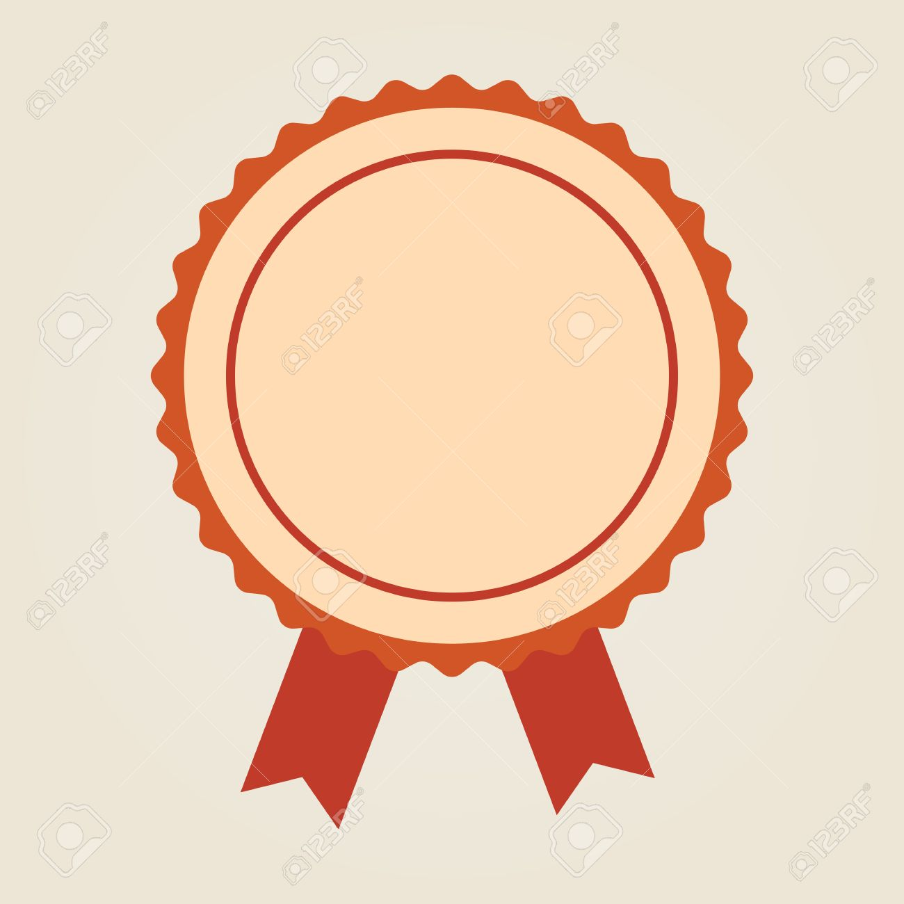 Badge With Ribbons Or Award Flat Icon On Yellow Background Stock 1300x1300