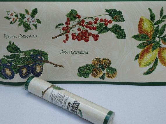 Vintage Wallpaper Border Fruit Motif 2 Rolls by DieterFinds 570x428