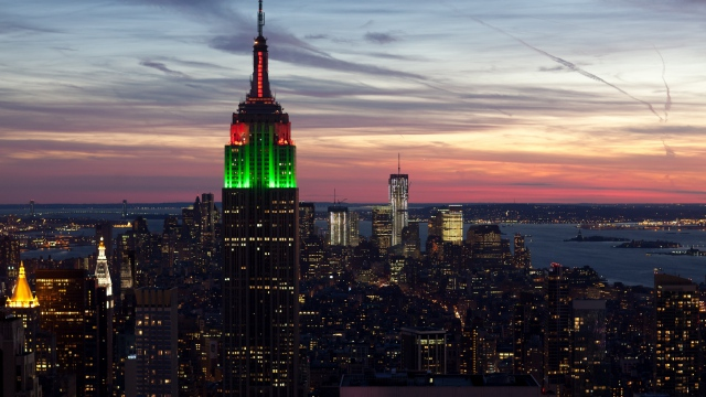 Wallpaper city new york empire state building sunset HD 640x360