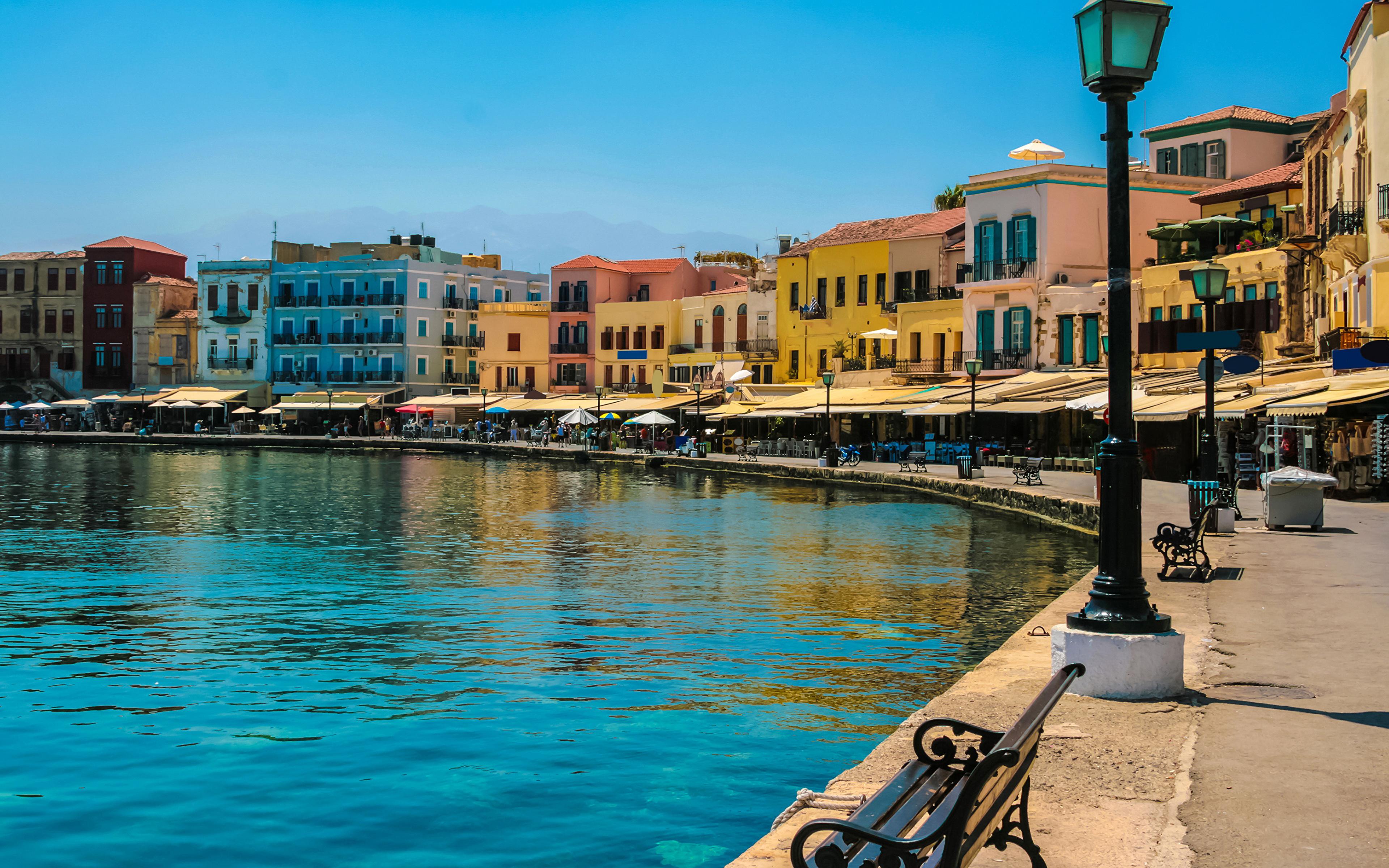 Wallpaper Greece Crete Coast Street lights Cities Building 3840x2400 3840x2400