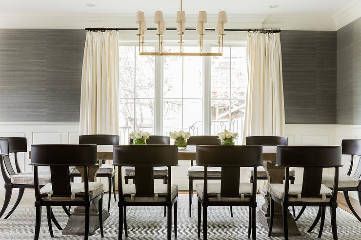 Dining Room with Grasscloth and Wainscoting   Transitional   Dining 740x492