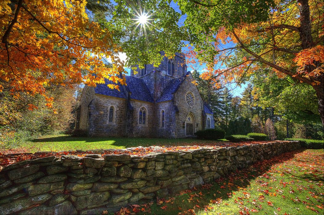 Bethlehem New Hampshire autumn trees landscape church wallpaper 1051x700