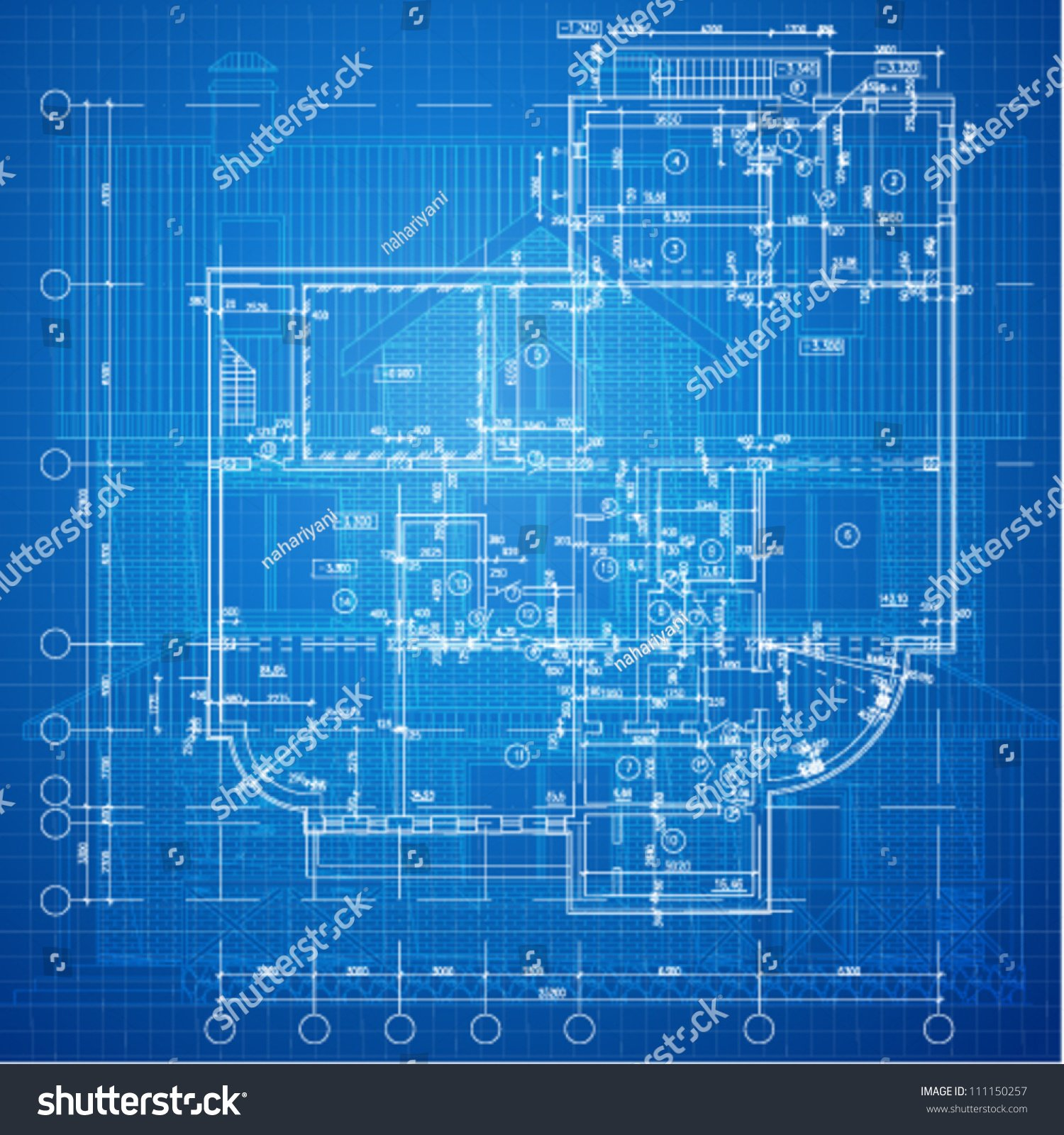 Urban Blueprint Vector Architectural Background Part Stock Vector 1500x1600