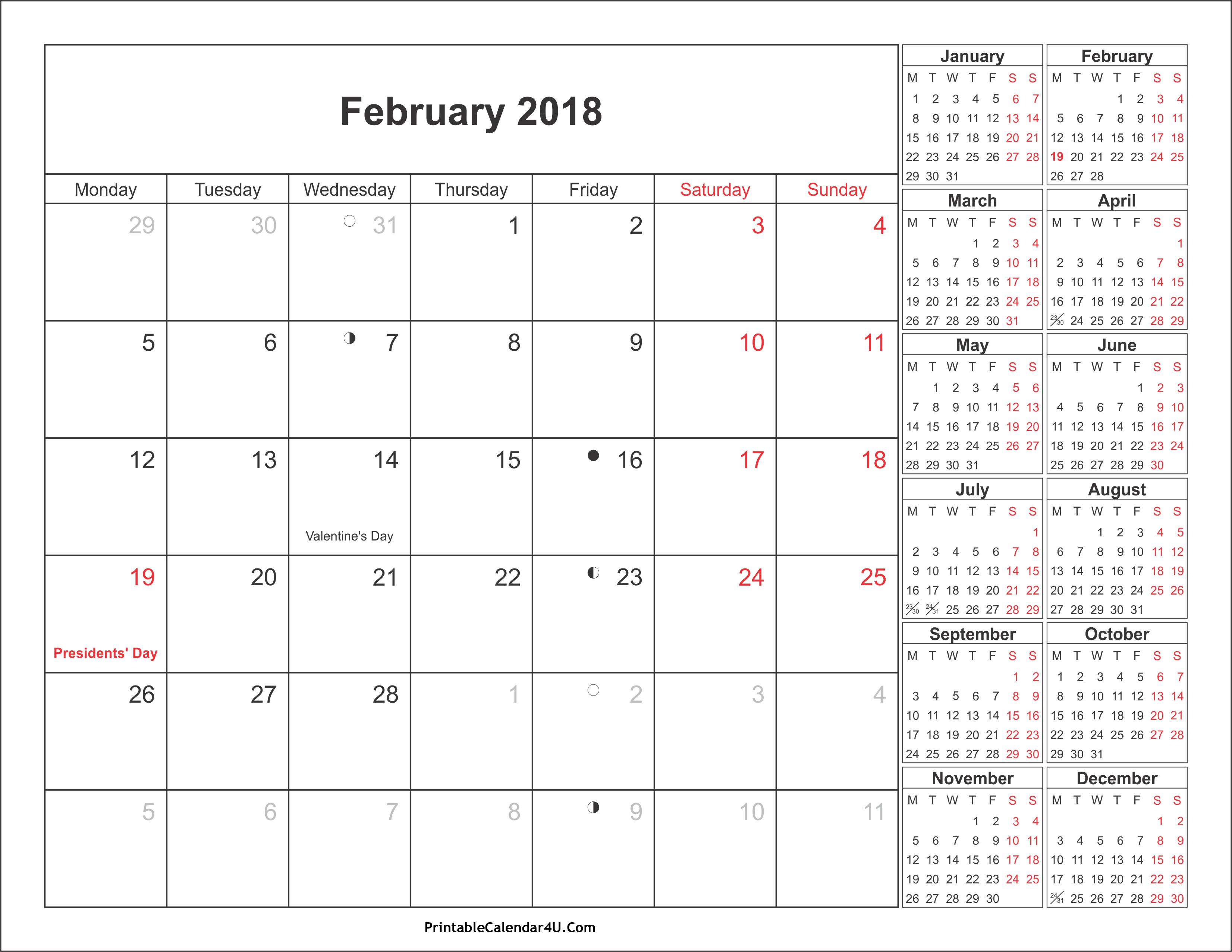 February 2018 Calendar With Holidays 2018 calendar printable 3304x2554
