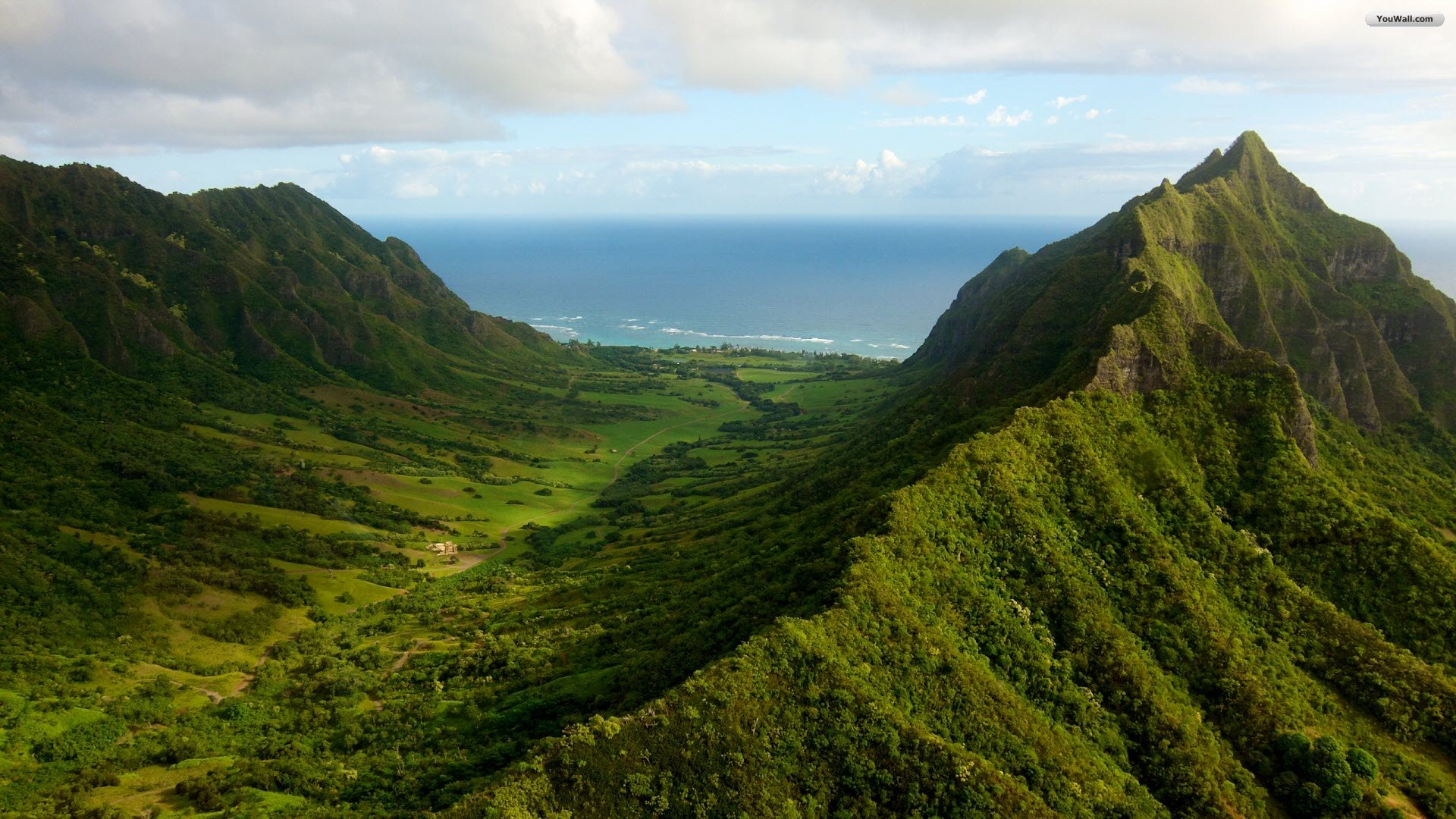 Oahu Green Mountains Wallpaper   wallpaperwallpapersfree wallpaper 1920x1080