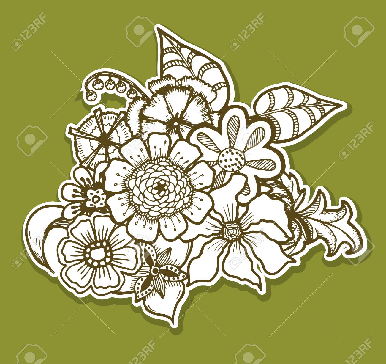 Ornate Floral Pattern With Flowers Doodle Sharpie Background 1300x1224