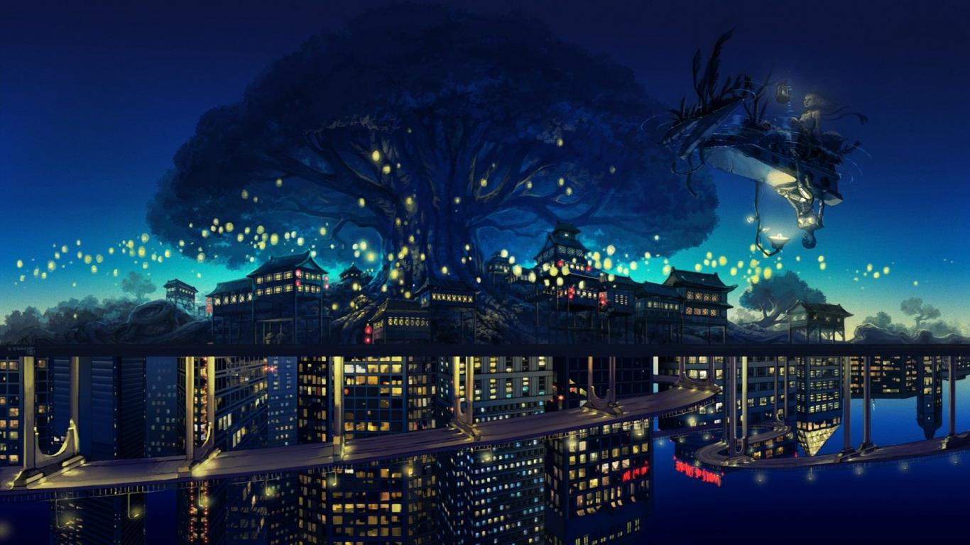 Anime Tree City Cool Wallpapers 1366x768