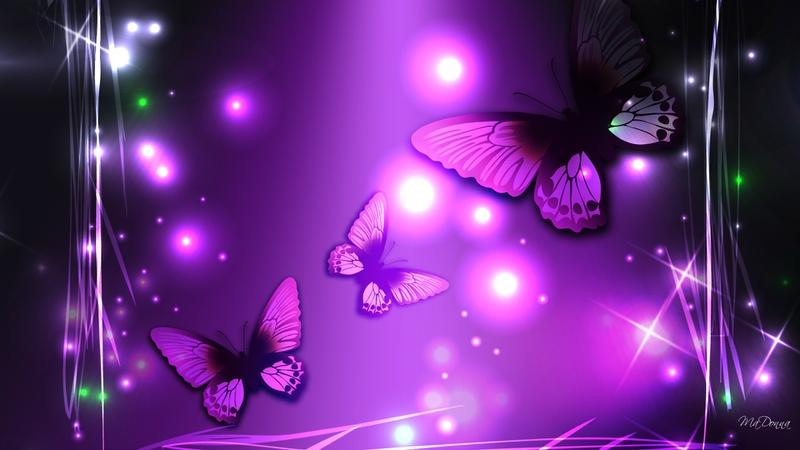 Free Download Bright Purple Light Magic Animals Butterflies Hd
