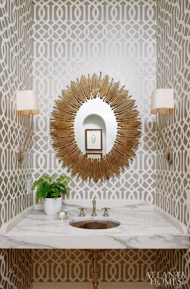 sunburst mirror   imperial trellis wallpaper   Schumacher   ATL powder 650x985