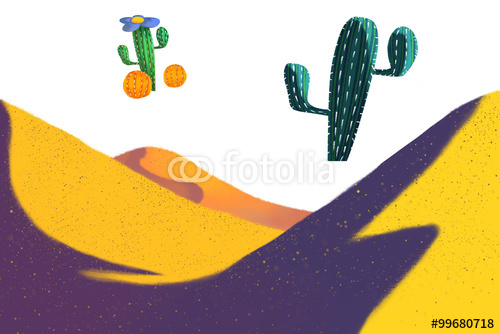 Illustration Yellow Desert and Cactus on white Background Realistic 500x334