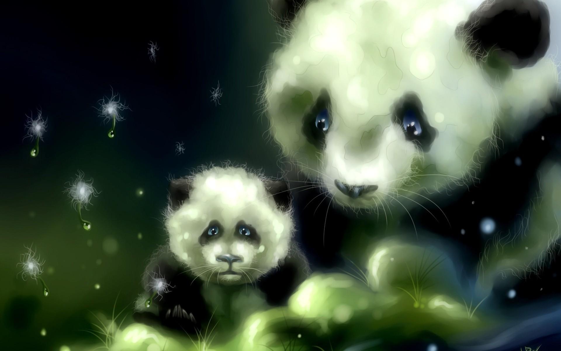Group Of Cute Cartoon Panda Bear Wallpaper